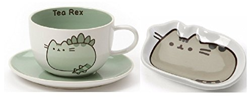 Enesco pusheenosaurus Tee Tasse und Untertasse Paket mit Classic Pusheen Tee Beutelhalter
