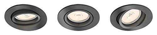 Philips - Set de 3 spots encastrables, modèle : Donegal, culot GU10, forme : ronde, couleur : grise