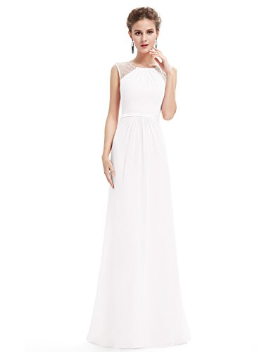 Ever Pretty Damen Elegant Ärmellos Perlen Lang Abendkleider Maxikleider Größe 36 Weiß (Kleider Weiße Perlen)