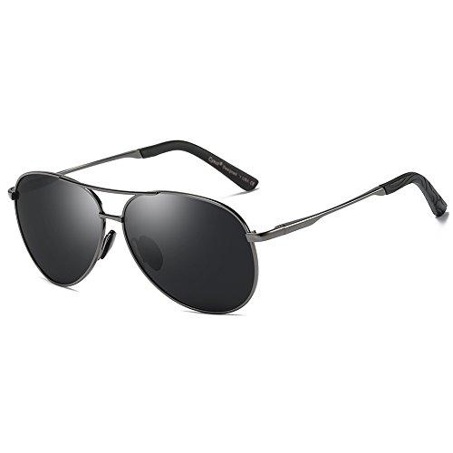 Cyxus Pilotenbrille Flieger Sonnenbrille UV400 Schutz Optimal Entwurf Herren und Frauen Aviator Sonnenbrillen (Tiefgrauer Rahmen/graue Linse)