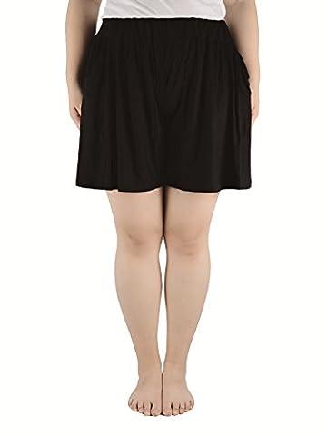 Women's Plus Size Shirring Flared Extreme Soft High Waist Mini Leisure Wear Mini Base Skirts Skorts with Pockets Black 4XL (US Size: 1X Plus-3X
