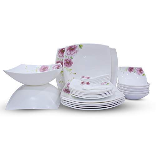 Soogo Opalware Dinner Set, 27-Pieces, White and Pink