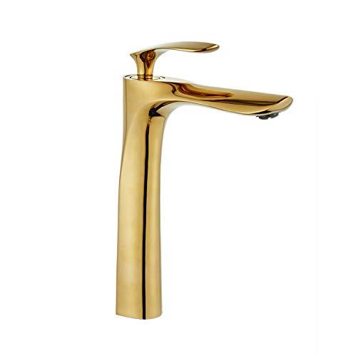 Leekayer Rubinetti per lavandini bagno cromo oro per Lavabo beccuccio rubinetto lavabo alto, finitura cromata lucida/oro