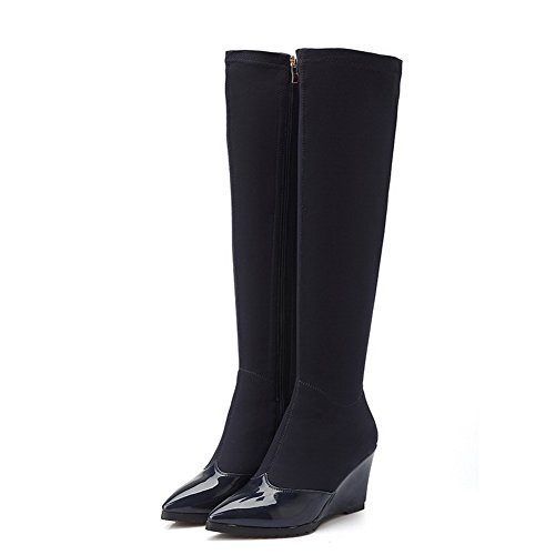 AgooLar Damen PU Überknie Hohe Stiefel Stiefel Rein Ziehen auf Mittler Absatz Stiefel, Blau, 39