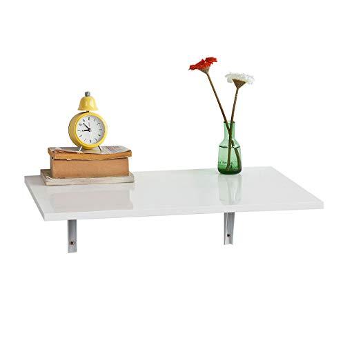 SoBuy® FWT21-W Table Murale Rabattable en Bois Table de Cuisine Table Enfant L60×P40cm -Blanc