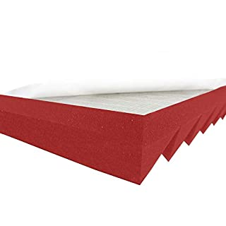 Akustikpur Acoustic Foam Triangle Profile Slat Wave Panels Colour Red/Pink Self-Adhesive, Approx. 49 x 49 x 5 cm) Sound Insulation Mats for Effective Acoustic Insulation