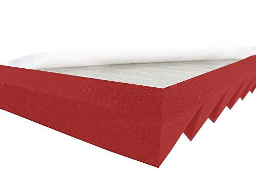 Akustikpur Akustikschaumstoff Dreieck Profil Lamellen WAVE PANELS Color Rot/Pink SELBSTKLEBEND - (ca. 49 x 49 x 5 cm) Schalldämmmatten zur effektiven Akustik Dämmung