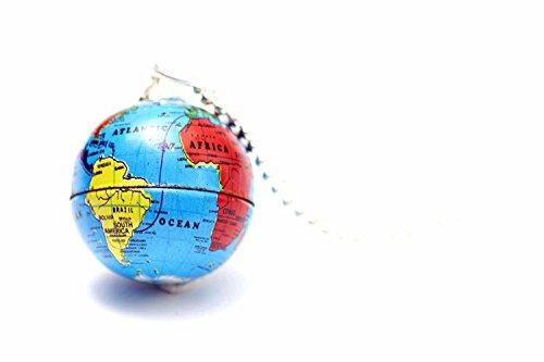 Miniblings Globus Kette Halskette 80cm Erde Erdball Erdkugel Welt Planet blau