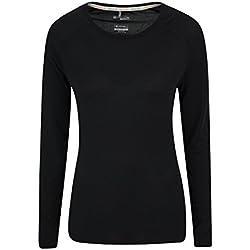 Mountain Warehouse Top IsoCool Dynamic para Mujer - Camiseta cómoda para Mujer, Camiseta Ligera, Secado rápido, Camiseta Transpirable - para Viajar, Correr Negro 42
