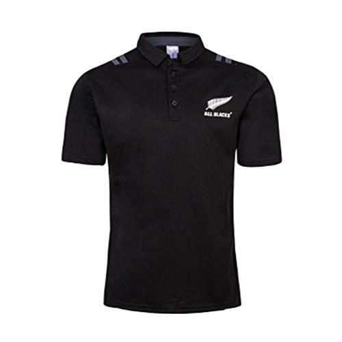 Xiaodun77 Maglia da Rugby Nuova Zelanda NRL all Black Team Seven-Player Home And Away 2018-19 all Black Team Polo Rugby Abbigliamento T-Shirt Manica Corta Calcio Allenamento Tee,Nero,L