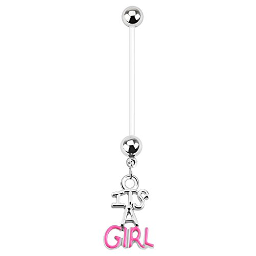 Belly Ringe Button Schwangerschaft (Schwangerschaft Pregnant Schwanger Piercing Flexibel Bauchnabel Bauchnabelpiercing Junge Mädchen (Girl 7182))