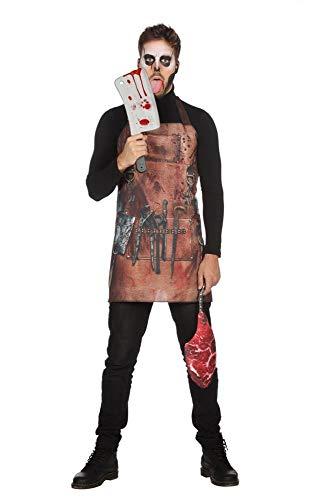 shoperama Bloody Butcher Set blutige Metzger-Schürze mit Fleisch-Tasche Halloween Horror Herren-Kostüm Serien-Mörder - Fleisch Kostüm Halloween