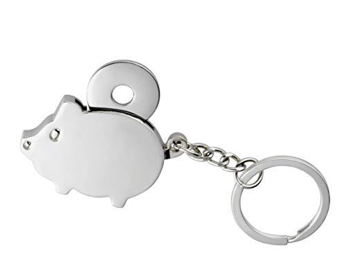Einkaufswagenchip Chip Schlüsselanhänger süßes Schwein Glücksschwein mit Metallchip in einer Geschenkbox Schweinchen 4,5x3cm -