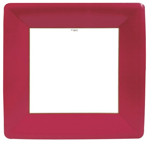 Caspari Entertaining with Caspari Lot de 8 assiettes en papier gros-grain Rouge