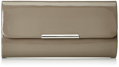 Berydale Damen Lack Handtasche, Clutch Schultertasche mit Zusatzkette und Magnetverschluss, Taupe (Taupe Clutch)