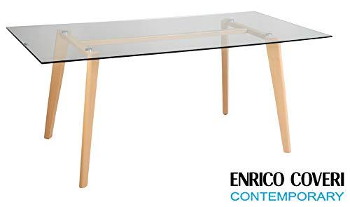 Enrico Coveri Contemporary Tavolo Moderno da Pranzo, Salotto, Cucina in  Vetro Temperato Dimensioni 180 x 90 x 75 Cm
