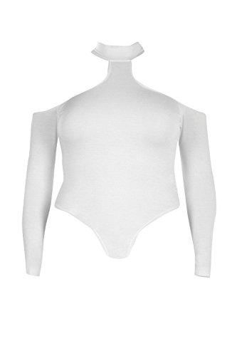 blanc Hommes Plus Frankie Ouvert Épaule Bodysuit Blanc