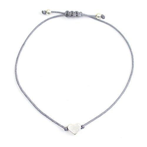 Selfmade Jewelry Herz Armband Textil Grau Silber - Handmade Armbändchen mit Herz -