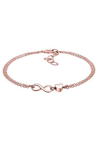 Elli Damen Schmuck Echtschmuck Armband Gliederarmband Herz Infinity Liebe Sterling Silber 925 Rosé Vergoldet Länge 16 cm