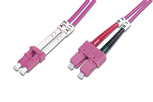 DIGITUS LWL Patch-Kabel OM4 - 1 m LC auf SC Glasfaser-Kabel - LSZH - Duplex Multimode 50/125µ - 10 GBit/s - Violett -