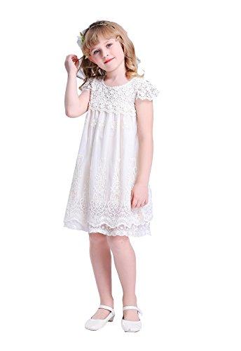 Bow Dream Spitze Mädchenkleid aus Vintage Elfenbein 12 Jahre (Elfenbein Tüll Mädchenkleider)