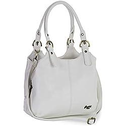 Big Handbag Shop - Bolso de mano de Sintético mujer, color Blanco, talla M