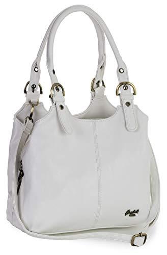 Big Handbag Shop Mehrfachtaschen Mittlere Größe Umhängetasche/Schultertasche für Frauen - Mit langem Schulterriemen - AMELIA (Mabel - Weiß)