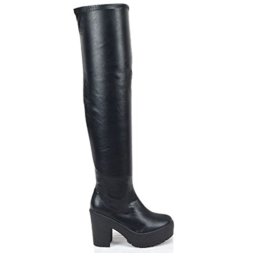 WOMENS OVER THE KNEE THIGH HIGH CHUNKY PLATFORM HEEL STRETCH BLACK BOOTS 3-8 (Faux Wildleder Slouch Schwarz Boot)