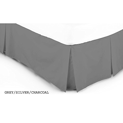 ARLINENS Luxury Plain Dyed Poly Cotton Platform Base Valance Sheet in Following Colours and Sizes (DOUBLE, GREY)