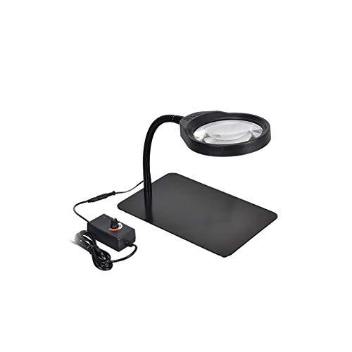 YXLZZO Leichte verstellbare HD LED Tischleuchte Tischlupe Leseinspektion Leiterplatte Reparaturarbeit Tischlampe 10-fach Lupe Lupe