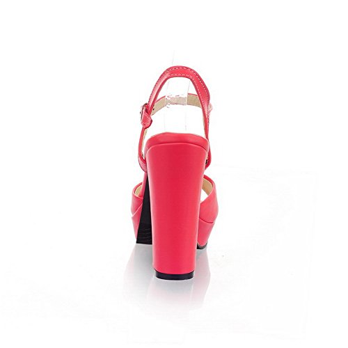 Voguezone009 Femme Faux Suede Cuir Boucle Peeking Sandales À Talons Hauts Pastèque Rouge