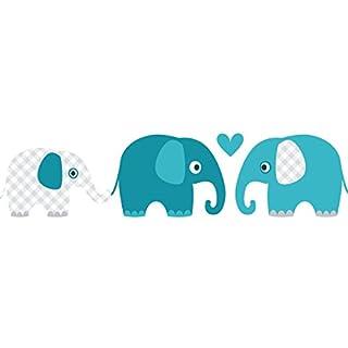 lovely label Bordüre selbstklebend ELEFANTEN PETROL/MINT/GRAU - Wandbordüre Kinderzimmer / Babyzimmer mit Elefanten in versch. Farben - Wandtattoo Schlafzimmer Mädchen & Junge, Wanddeko Baby / Kinder