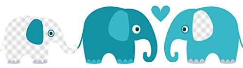 Billig Lovely Label Bordure Selbstklebend Elefanten Petrol Mint Grau
