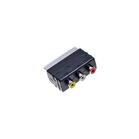 Euro TV AV Scart Adapter Chinch zu Scartstecker für z.B. Playstation XBOX Nintendo PS1 PS2 PS3 RCA to Stecker von PSBasics