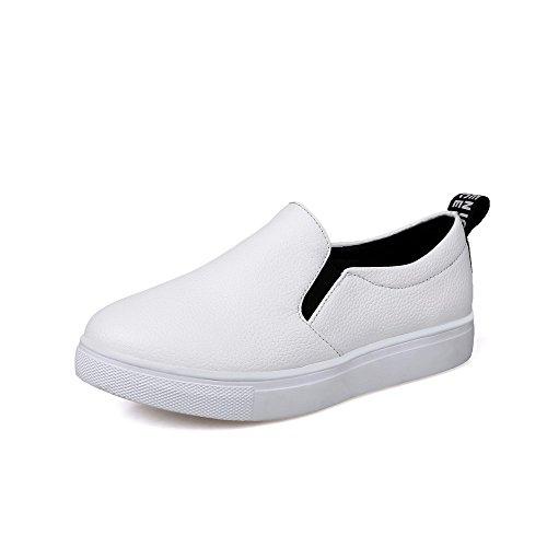 AgooLar Damen Niedriger Absatz Rein Schließen Zehe Ziehen auf Stiefel, Weiß, 35