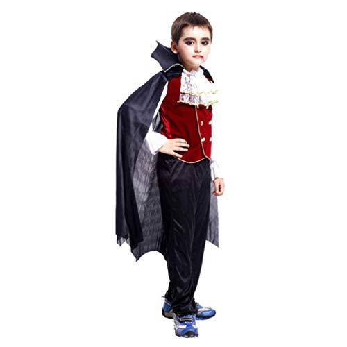 Halloween Kleidung, Cosplay 3 Pcs Outfits Kleinkind Kinder Jungen Mädchen Kostüm Tops Hosen Mantel Set (L, Schwarz) (Für Halloween-kostüme Jungen Drei)