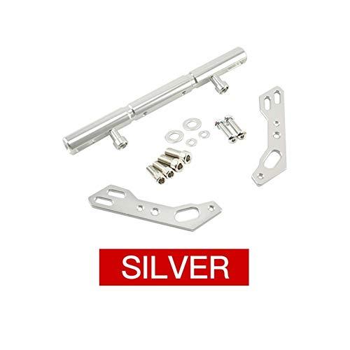 Khxypm 86 CNC Aluminium Universal Motorrad Rückspiegelhalterung Mutifunctional Cross Bar Balance Beam Hebel Extend Stick Zylinderkopfdichtungen (Farbe : Silber)