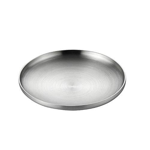 DEI QI 1pcs haute bonne qualité plaque d'acier inoxydable double couche épaissie barbecue os vaisselle plat (Size : M (19cm))