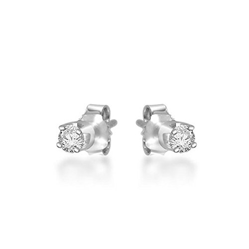 0.25ct G/VS1 Diamant Stecker Ohrringe für Damen mit runden Brillantschliff diamanten in 18kt (750) Weißgold