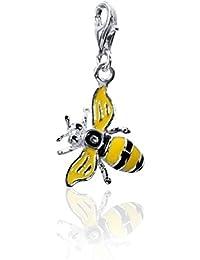 MATERIA 925 Silber Charms Anhänger Biene Charm Emaille gelb für Bettelarmband