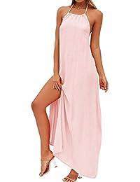 Aelegant Damen Sommer Ärmellos Kleid Neckholder Rückenfrei Strand Kleider  A-Linie Maxi-Kleid Reizvolles e572b49e26