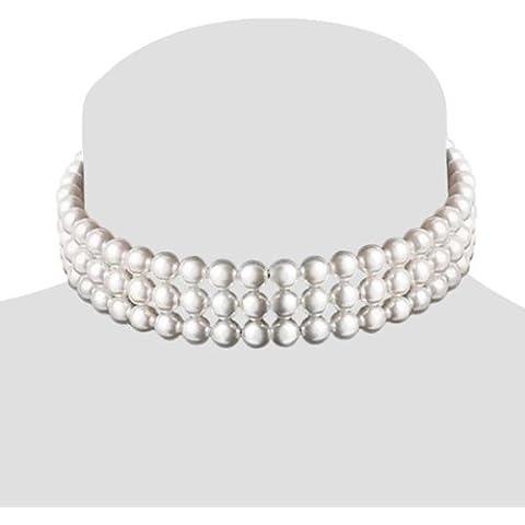 Bling Jewelry Concha de Perla Mar del Sur Tres cuerda Nupcial Gargantilla Collar 8mm