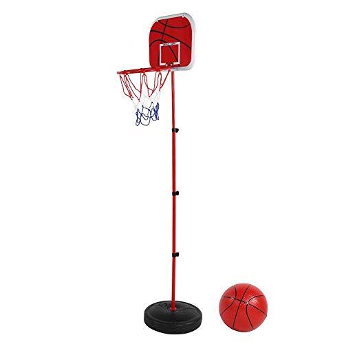 VGEBY Basketballständer Set, Kinder Basketballkorb Kit Rückwand mit Sockel, Eisenstange, Basketball, Reifen und Netz, Pumpe für Indoor Outdoor