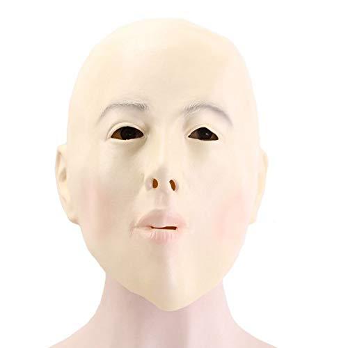 FLTVSN Halloween-Maske Glatze Mädchen Maske Vollgesichts Erwachsene Latex Halloween Maskerade Cosplay Frau Party Maske Ball Kostüm - Glatze Frau Kostüm