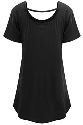 Meaneor Damen Sommer T-Shirt Plus Size Kurzarm Schnürung am Rücken Longshirt O-Ausschnitt Basic T-Shirt Schwarz