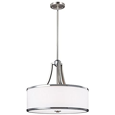 Prospero Park 4 Lamp Uplight Pendant - Satin Nickel / Polished Chrome