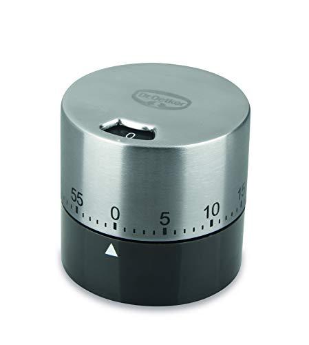 Dr. Oetker Mechanischer Kurzzeitmesser bis zu 60 min Exclusive, Küchenwecker aus Edelstahl, Timer funktioniert ganz ohne Batterie, (Farbe: Grau-Braun/Silber) Menge: 1 Stück