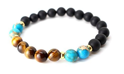 GOOD.designs Chakra Perlen-Armband aus Lava-Natursteinen / mit Seil und allen 7 Chakra (Türkis / Tiger / Onyx) Armband Mit Türkis-perlen