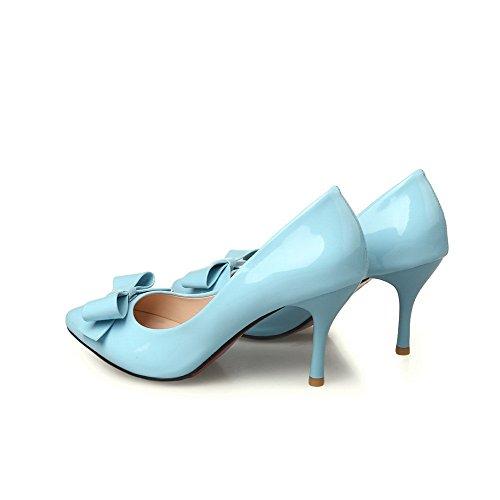AgooLar Femme à Talon Haut Couleur Unie Tire Verni Pointu Chaussures Légeres Azur