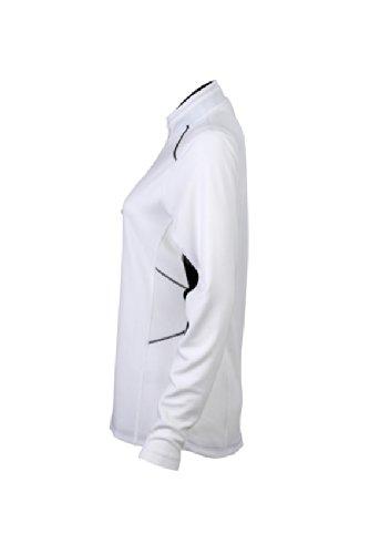 JAMES & NICHOLSON Ladies Running Shirt - T-shirt de Maternité - Femme Blanc (White/Black)